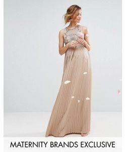 Maya Maternity | Платье Макси С Плиссированной Юбкой И Декорированным Лифом