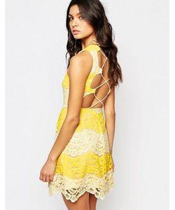 Foxiedox   Кружевное Платье Мини С Контрастной Отделкой И Шнуровкой На Спине