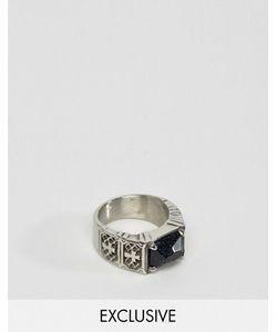 Reclaimed Vintage | Кольцо С Черным Камнем И Крестиками Inspired