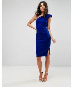 Asos | Платье Миди На Одно Плечо С Подплечником