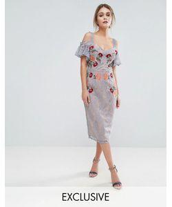 Hope and Ivy   Кружевное Платье Миди С Вышивкой Контрастными Бретельками И Завязками На Плечах