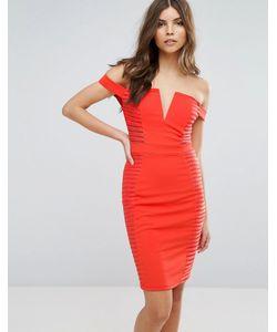 Parisian | Облегающее Платье Со Спущенными Плечами И Разрезами