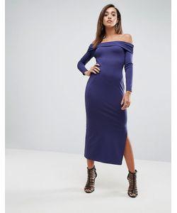 Asos | Сверхмягкое Облегающее Платье Макси С Открытыми Плечами И Широким Отворотом