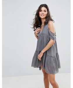 Free People   Платье С Открытыми Плечами Gauze Indus