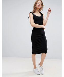 Asos | Платье Миди В Рубчик С Завязками На Плечах