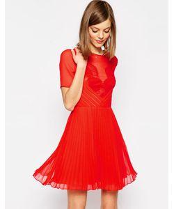 Asos | Короткое Приталенное Платье С Кружевом И Складками