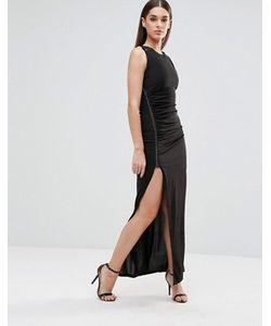 Sistaglam | Платье Макси С Разрезом Спереди И Металлической Отделкой