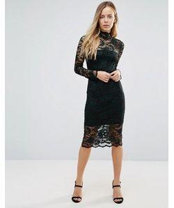 Ganni   Кружевное Полупрозрачное Платье Миди Flynn