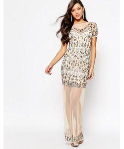 MISSGUIDED | Сетчатое Платье Макси С Цветочной Отделкой Premium