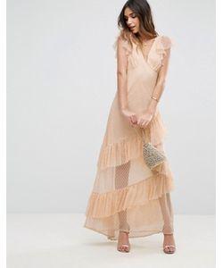 Asos | Сетчатое Платье Макси В Горошек С Вырезами