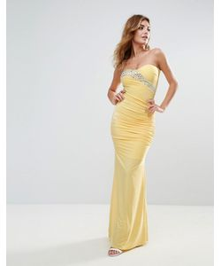 City Goddess   Платье Макси С Лифом-Бандо И Шлейфом