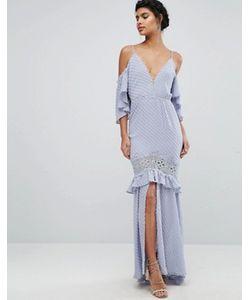 Dark Pink | Платье Макси С Кружевными Вставками