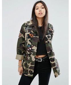 Asos | Камуфляжная Куртка С Нашивками