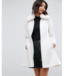 Asos | Короткое Приталенное Пальто С Воротником Из Искусственного Меха