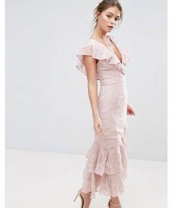 Dark Pink | Платье Миди С Выжженным Рисунком И Оборками На Рукавах И По