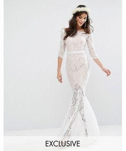 JARLO | Свадебное Кружевное Платье Макси С Вырезом Лодочкой