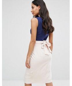 Closet London | Платье С Запахом В Стиле Колор Блок С Поясом