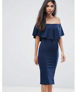 Lipsy   Облегающее Платье С Открытыми Плечами И Рюшами