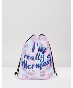 7X   Рюкзак С Затягивающимся Шнурком И Принтом Im Really A Mermaid