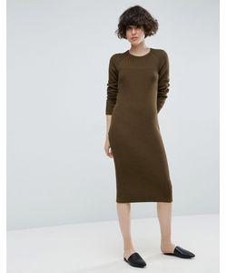 Asos | Платье Миди Крупной Вязки Со Вставкой В Рубчик