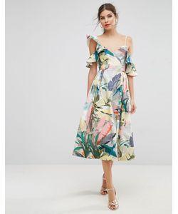 Asos | Платье Миди Для Выпускного С Оборками И Тропическим Принтом