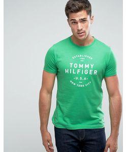 Tommy Hilfiger | Зеленая Футболка Классического Кроя С Принтом