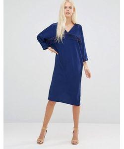 Liquorish | Темно Цельнокройное Платье С Бахромой