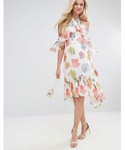 Asos | Ярусное Платье Миди С Цветочным Принтом