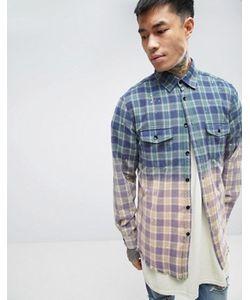 Reason | Фланелевая Рубашка С Эффектом Деграде И Необработанной Кромкой