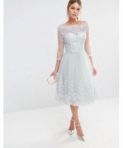 Chi Chi London | Платье Миди Из Тюля С Кружевной Вышивкой