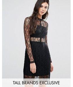 Fashion Union Tall | Кружевное Приталенное Платье С Длинными Рукавами