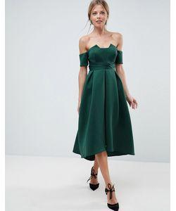 Asos   Платье Миди Для Выпускного С Открытыми Плечами И Складками На Талии