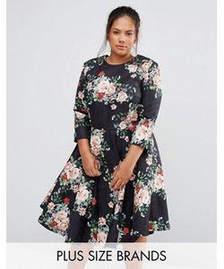 Chi Chi Plus | Платье Миди С Цветочным Принтом Chi Chi London Plus