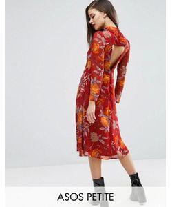 ASOS PETITE | Платье Миди С Открытой Спиной И Цветочным Принтом