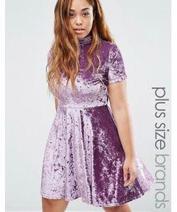 Club L Plus | Бархатное Короткое Приталенное Платье С Высокой Горловиной
