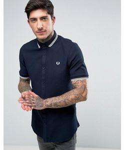 Fred Perry | Темно-Синяя Рубашка С Короткими Рукавами И Двойным Кантом