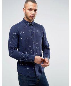 ARMANI JEANS | Темно-Синяя Приталенная Рубашка С Логотипом