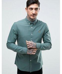 Farah | Зеленая Оксфордская Рубашка Узкого Кроя Brewer