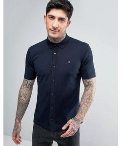 Farah | Темно-Синяя Трикотажная Рубашка Слим С Короткими Рукавами Saul