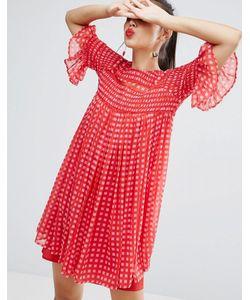 Asos | Свободное Платье В Клеточку Со Сборками