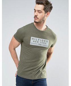 Tommy Hilfiger | Зеленая Меланжевая Футболка Классического Кроя С Логотипом