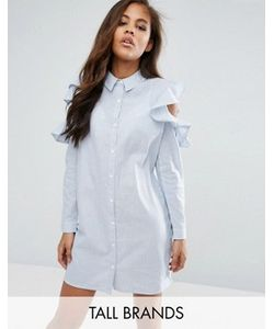 Missguided Tall | Frill Cold Shoulder Shirt Dress