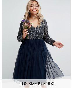 Lovedrobe Luxe   Платье Миди С Длинными Рукавами И V-Образным Вырезом Lovedrobe