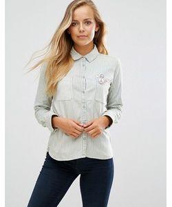 Maison Scotch | Рубашка В Полоску С Вышивкой