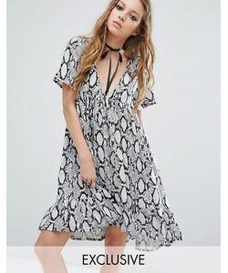 Milk It | Платье Со Змеиным Принтом И V-Образным Вырезом С Лентой