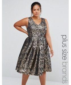 Chi Chi Plus | Жаккардовое Платье Для Выпускного Цвета Металлик Chi Chi London Plus