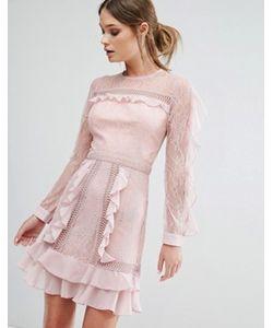 True Decadence | Платье Мини С Оборками На Рукавах С Прозрачными Вставками
