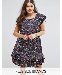 Koko | Короткое Приталенное Платье С Оборками И Цветочным Принтом Plus