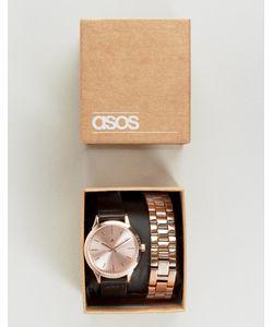 Asos | Часы Со Сменными Ремешами Черного И Золотисто-Розового Цвета