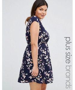 Yumi Plus | Короткое Приталенное Платье С Принтом Бабочек И Поясом